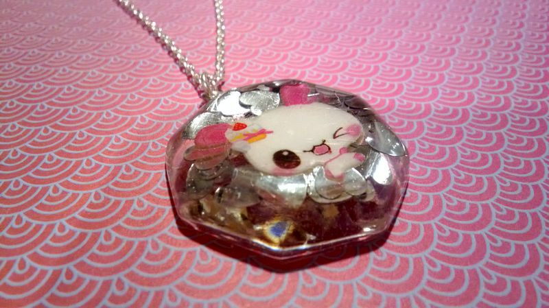 Silver Heart Pink Rabbit Octogan Necklace - product images  of