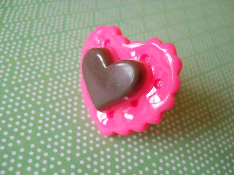 Pink,Heart,Cookie,and,Chocolate,Ring,harajuku kawaii pink cookie heart biscuit chocolate silver ring jewellery