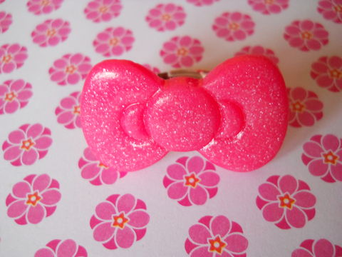 Pink,Glitter,Bow,Ring,harajuku kawaii pink cookie heart biscuit chocolate silver ring jewellery