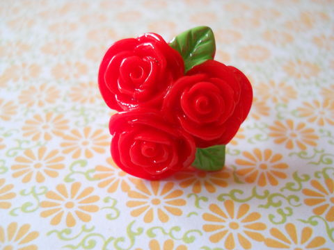 Red,Rose,Ring,harajuku kawaii red rose flower silver ring jewellery