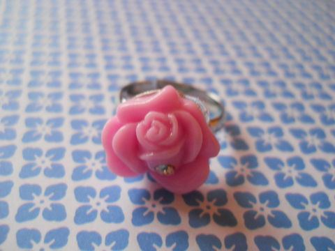 Pale,Pink,Diamanté,Rose,Ring,harajuku kawaii pink diamanté sparkly rose flower silver ring jewellery