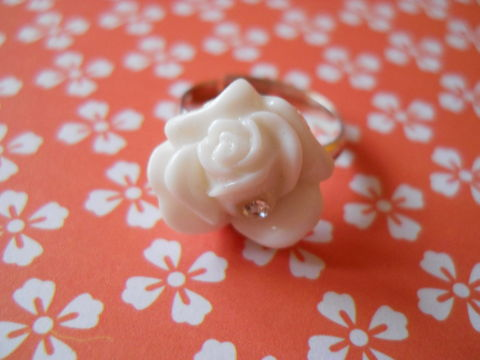 White,Diamanté,Rose,Ring,harajuku kawaii white diamanté sparkly rose flower silver ring jewellery