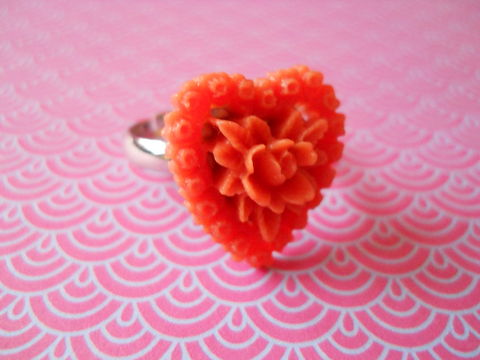 Orange,Heart,Flower,Ring,harajuku kawaii orange heart shaped love rose flower silver ring jewellery