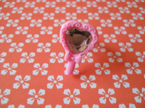 Pink,Princess,Mirror,Ring,harajuku kawaii pink heart shaped love princess mirror silver ring jewellery