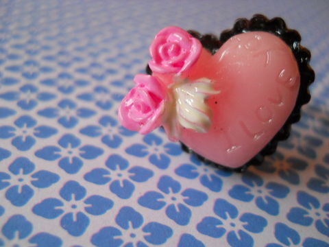 Pink,Rose,Love,Cake,Ring,harajuku kawaii heart shaped love chocolate rose pink i love you cake food silver ring jewellery