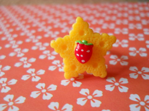Yellow,Star,Cookie,Ring,harajuku kawaii yellow star biscuit cookie strawberry silver ring jewellery