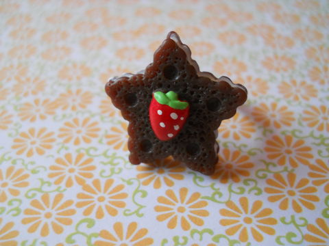 Chocolate,Star,Cookie,Ring,harajuku kawaii chocolate brown star biscuit cookie strawberry silver ring jewellery
