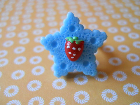 Blue,Star,Cookie,Ring,harajuku kawaii chocolate blue star biscuit cookie strawberry silver ring jewellery