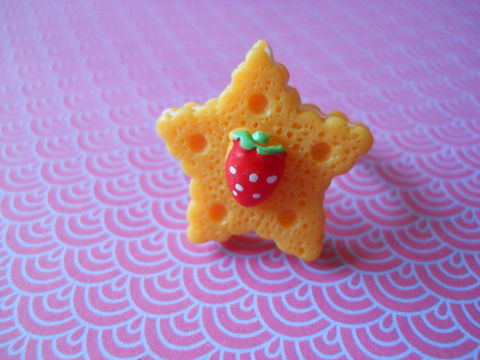 Orange,Star,Cookie,Ring,harajuku kawaii orange star biscuit cookie strawberry silver ring jewellery