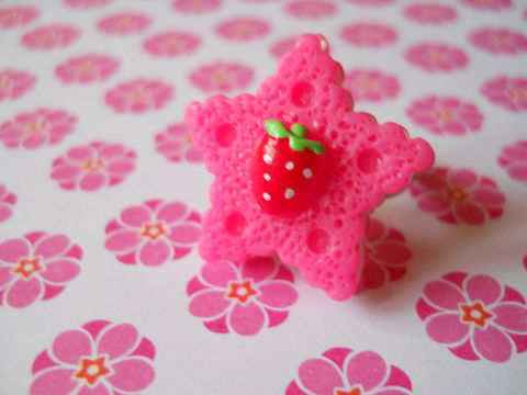 Dark,Pink,Star,Cookie,Ring,harajuku kawaii pink star biscuit cookie strawberry silver ring jewellery