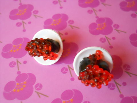 Orange,Roe,Plates,Earrings,harajuku kawaii orange roe plates food stud earrings