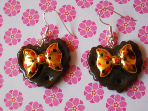 Brown,Double,Whammy,Earrings,harajuku kawaii gold bow brown heart love milk chocolate bar food stud earrings