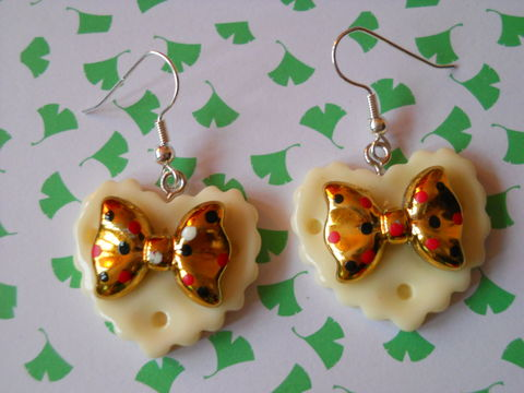 White,Double,Whammy,Earrings,harajuku kawaii gold bow white heart love milk chocolate bar food stud earrings