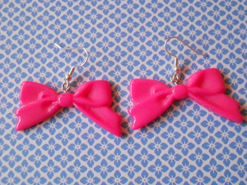 Dark,Pink,Long,Bow,Earrings,harajuku kawaii dark pink bow drop earrings