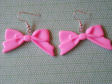Light,Pink,Long,Bow,Earrings,harajuku kawaii light pink bow drop earrings