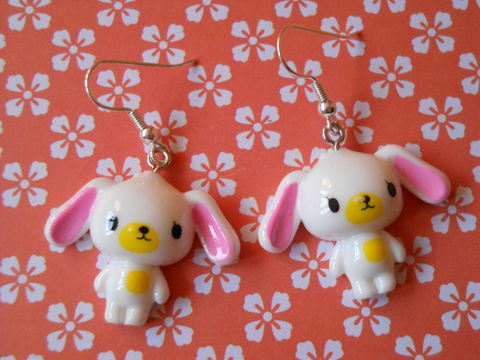 White,Sugar,Bunny,Earrings,harajuku kawaii white rabbits drop earrings