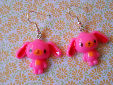 Dark,Pink,Sugar,Bunny,Earrings,harajuku kawaii dark pink rabbits drop earrings