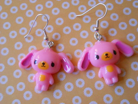 Baby,Pink,Sugar,Bunny,Earrings,harajuku kawaii light baby pink rabbits drop earrings