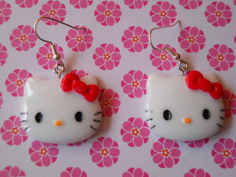 Red,Hello,Kitty,Earrings,harajuku kawaii hello kitty red bow drop earrings