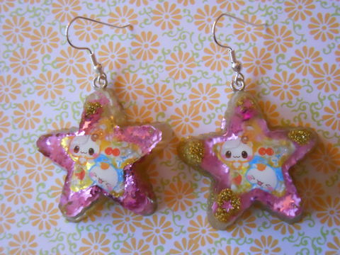 Pink,and,Gold,Dog,Star,Earrings,harajuku kawaii  Resin stars filled with pink and gold glitter decorated with kawaii dogs and cherries on drop earrings drop earrings