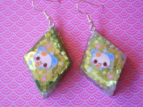 Diamond,Green,Star,Dog,Earrings,harajuku kawaii  Resin diamond shapes filled with green glittery stars decorated with kawaii dog and backed with silver glitter on drop earrings.