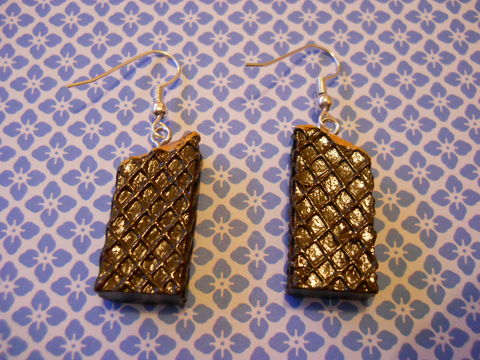 Chocolate,Wafer,Earrings,harajuku kawaii sweets food half eaten chocolate wafers on drop earrings.