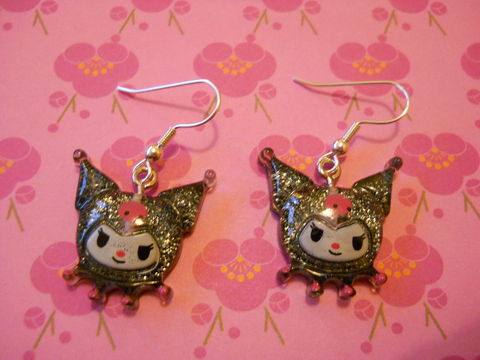 Kuromi,Earrings,harajuku kawaii black glittery Kuromi anime manga character computer game on drop earrings.