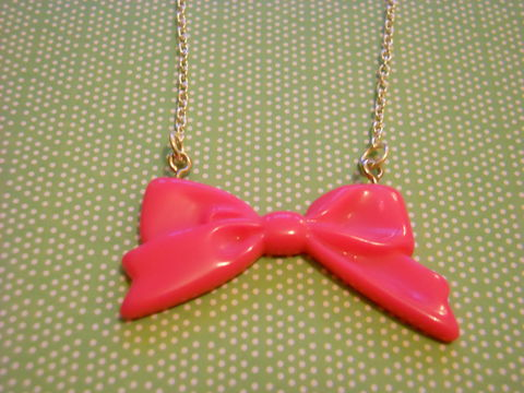 Pink,Long,Bow,Necklace,Super kawaii long pink bow pendant  silver gold necklace chain cute pendant