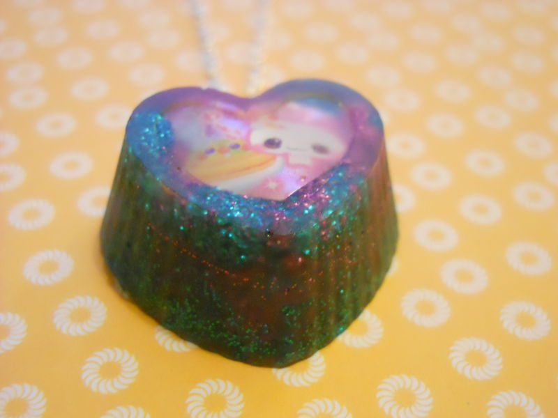 Turquoise Pink Rabbit Cupcake Heart Necklace - product images  of