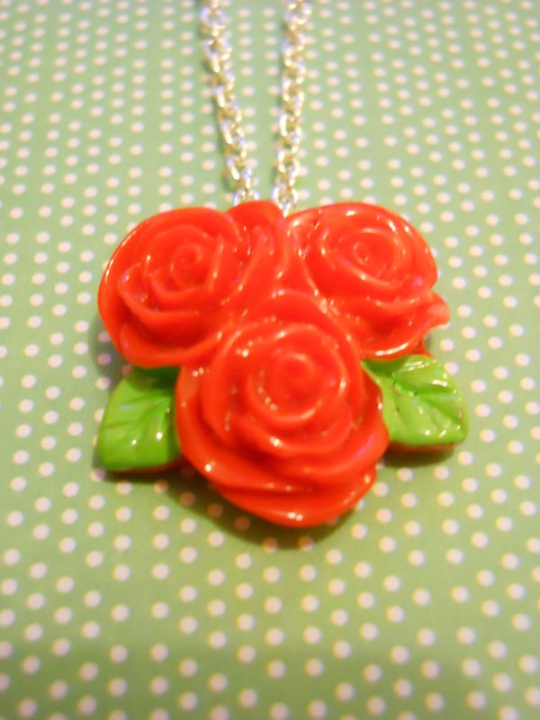 Triple Red Rose Necklace - product images  of