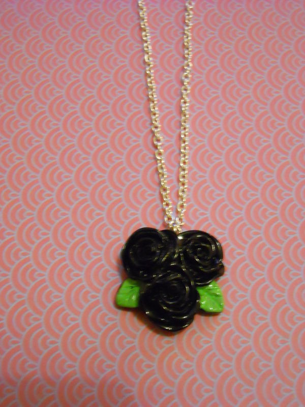 Triple Black Rose Necklace - product images  of