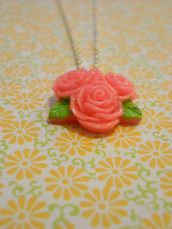 Triple Dark Pink Rose Necklace - product images  of