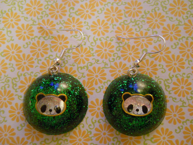 Dark Green Panda Wagashi Dome Resin Earrings - product images  of