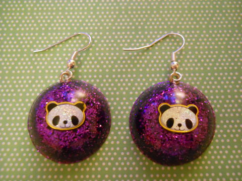 Dark,Purple,Panda,Wagashi,Dome,Resin,Earrings,harajuku kawaii wagashi silver dark purple dome panda sparkly glitter resin rice seaweed onigiri sushi roll japanese food silver plated drop earrings