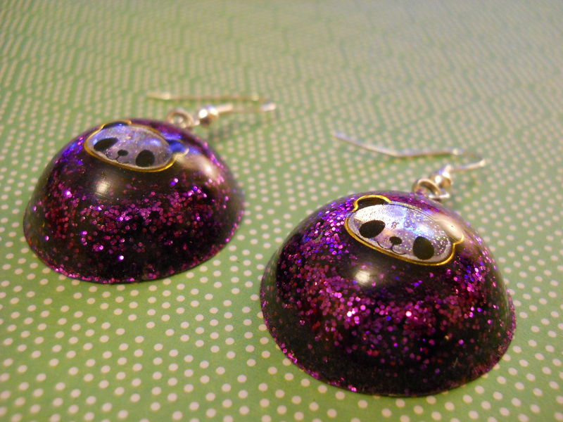 Dark Purple Panda Wagashi Dome Resin Earrings - product images  of