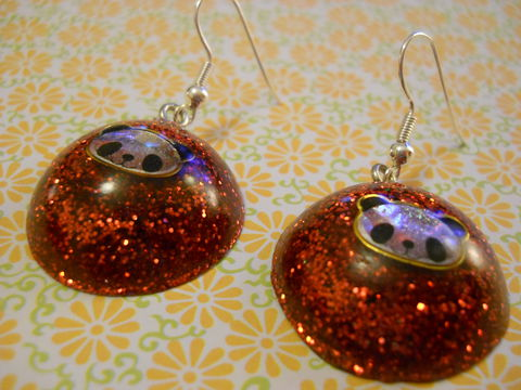 Red,Panda,Wagashi,Dome,Resin,Earrings,harajuku kawaii wagashi silver red dome panda sparkly glitter resin rice seaweed onigiri sushi roll japanese food silver plated drop earrings