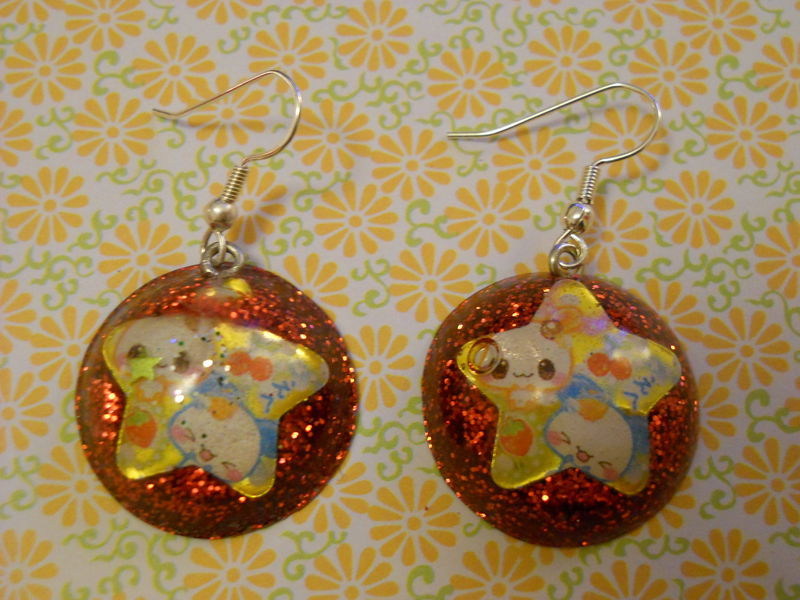 Red Kawaii Star Wagashi Dome Resin Earrings - product images  of