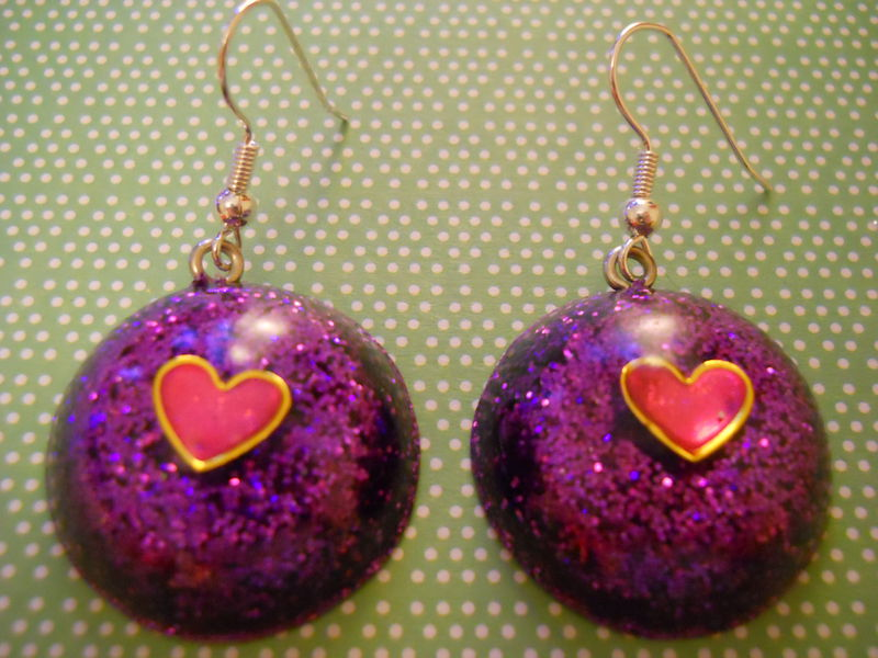 Dark Purple Heart Wagashi Dome Resin Earrings - product images  of