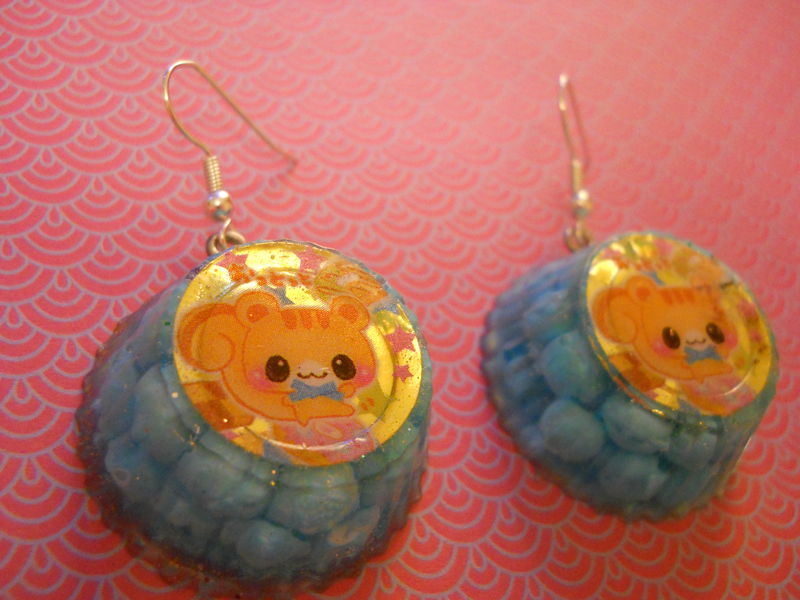 Bubblegum Kawaii Cat Wagashi Resin Earrings - product images  of