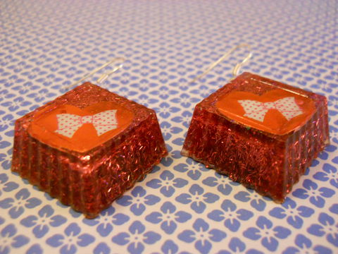 Red,Bow,Hearts,Cube,Wagashi,Resin,Earrings,harajuku kawaii wagashi silver white heart polka dot cube red diamond bow striped sparkly glitter resin rice seaweed onigiri sushi roll japanese food silver plated drop earrings