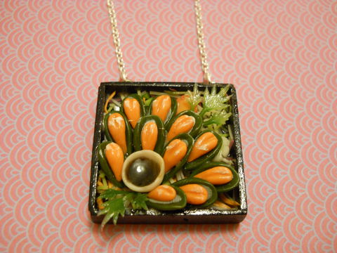 Sushi,Bento,Box,Necklace,5,Kitsch wooden Bento Box pendant filled with miniature kawaii temaki sushi egg tamago and sashimi and nigiri on a silver necklace. pendant filled with silver glitter  and backed with silver glitter. The pendant also features a dog with cherries and a cake