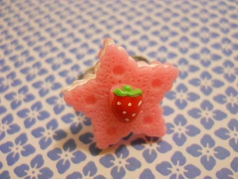 Light,Pink,Star,Cookie,Ring,harajuku kawaii light pink star biscuit cookie strawberry silver ring jewellery