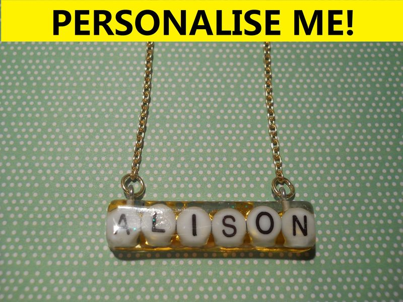 Personalised Long Rectangle Necklace - product images  of