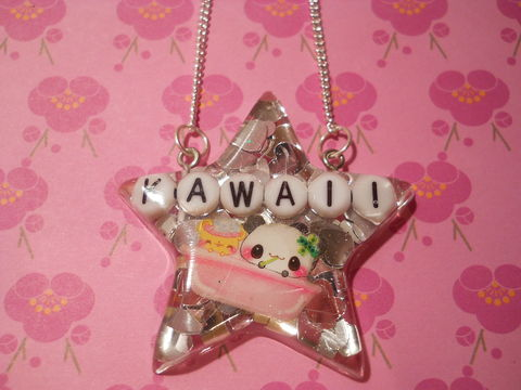 Kawaii,Superstar,Panda,Necklace,harajuku silver necklace chain cute pendant panda Super kawaii star shaped resin pendant filled with silver heart glitter confetti. The pendant also features a dog with pink ears on the front of the necklace.