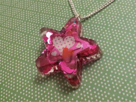Pink,Loveheart,Star,Resin,Necklace,pink heart polka dot harajuku silver necklace chain cute pendant Super kawaii wagashi star shaped resin pendant filled with purple glitter. The pendant features a picture of kawaii panda.