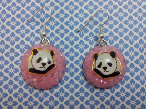 Pink,Crystals,Panda,Wagashi,Dome,Resin,Earrings,harajuku kawaii wagashi silver blue bubblegum dome panda sparkly glitter resin rice seaweed onigiri sushi roll japanese food silver plated drop earrings