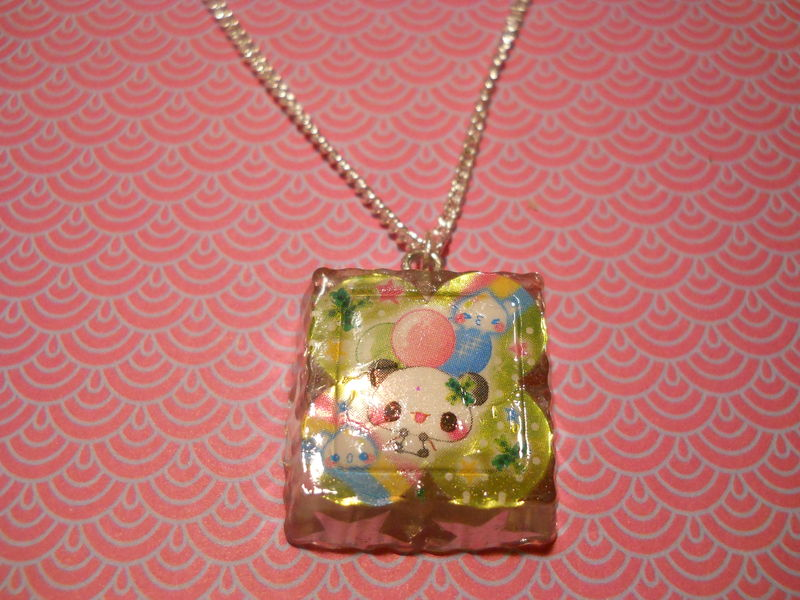 SUPER Sparkly Square Panda Star Necklace - product images  of