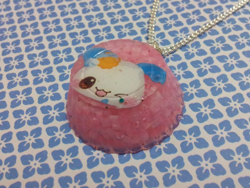 Pink Crystal Round Kawaii Rabbit Necklace - product images  of