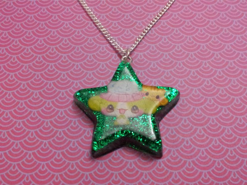 Super Shiny Emerald Green Glitter Star Kawaii Rabbit Necklace - product images  of