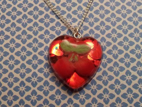 Super,Shiny,Red,LoveHeart,Glitter,Cherry,Sweetheart,Necklace,Super shiny sweetheart-shaped resin necklace pendant filled with ultra sparkly red heart-shaped glitter and also featuring a red kawaii cherry charm. pendant silver gold necklace chain cute pendant